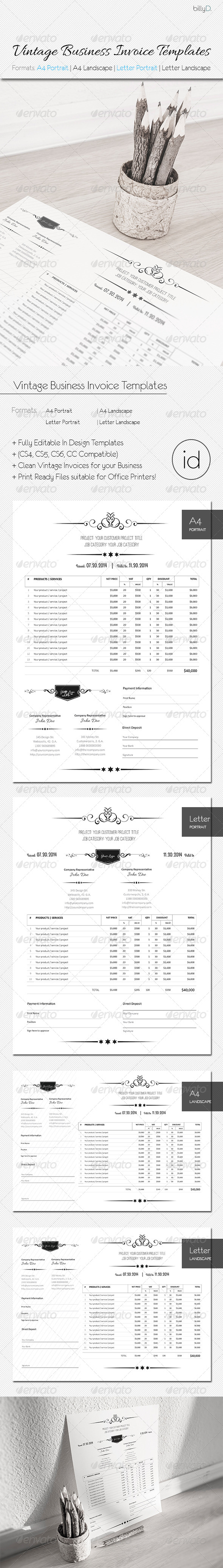 GraphicRiver Vintage Business Invoice Templates 8218437