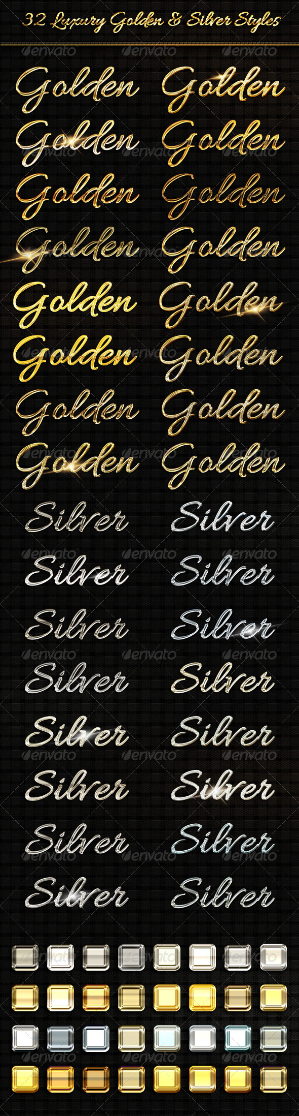 GraphicRiver BUNDLE 32 Luxury Golden & Silver Text Sty 8218643