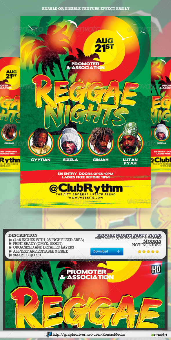 GraphicRiver Reggae Nights Party Flyer 8218858