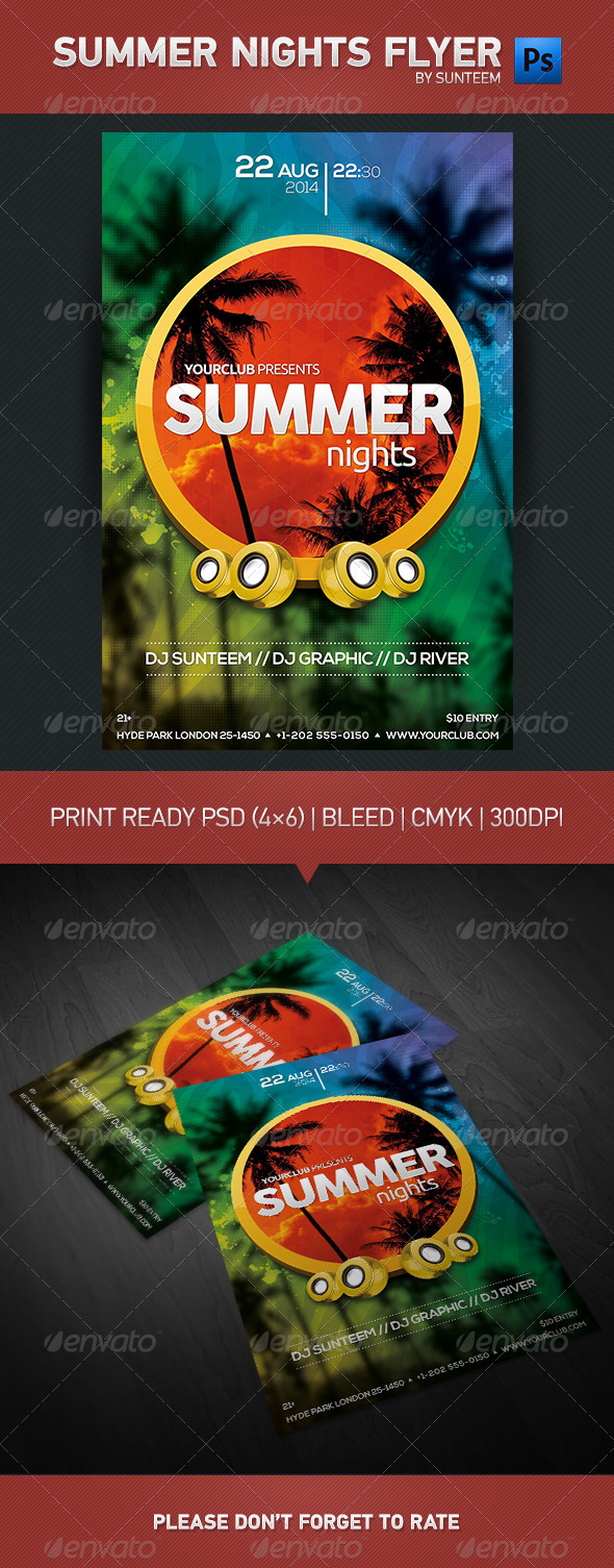 GraphicRiver Summer Nights Party Flyer Template 8218994