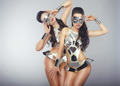 Vogue. People in Sparkling Cosmic Cyber Costumes Gesturing - PhotoDune Item for Sale