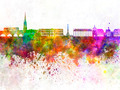 Bordeaux skyline in watercolor background - PhotoDune Item for Sale