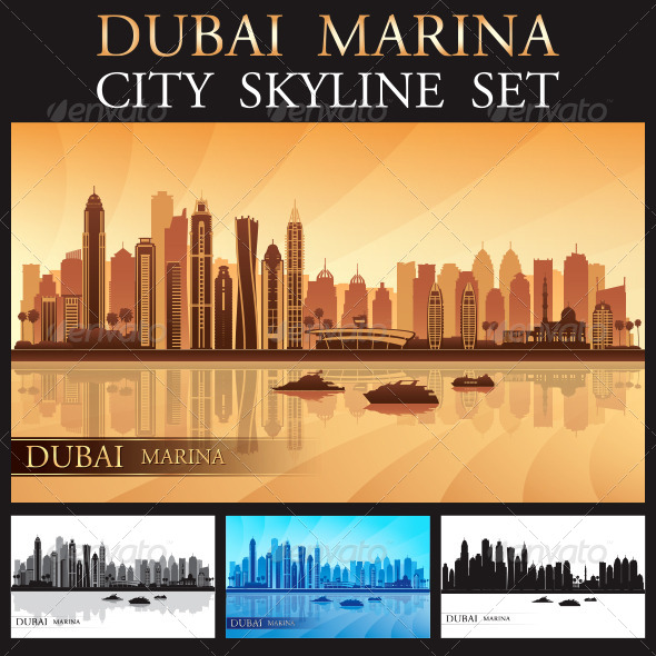 Dubai Marina City skyline Silhouettes Set