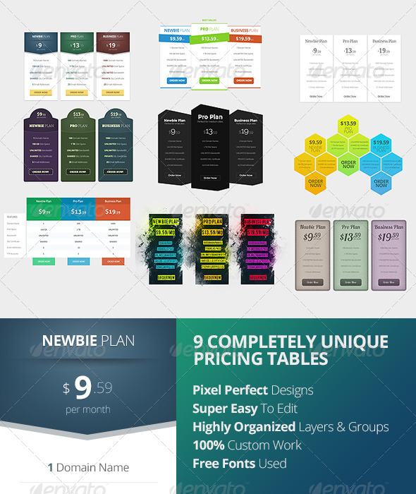GraphicRiver Pricing Tables 8219128