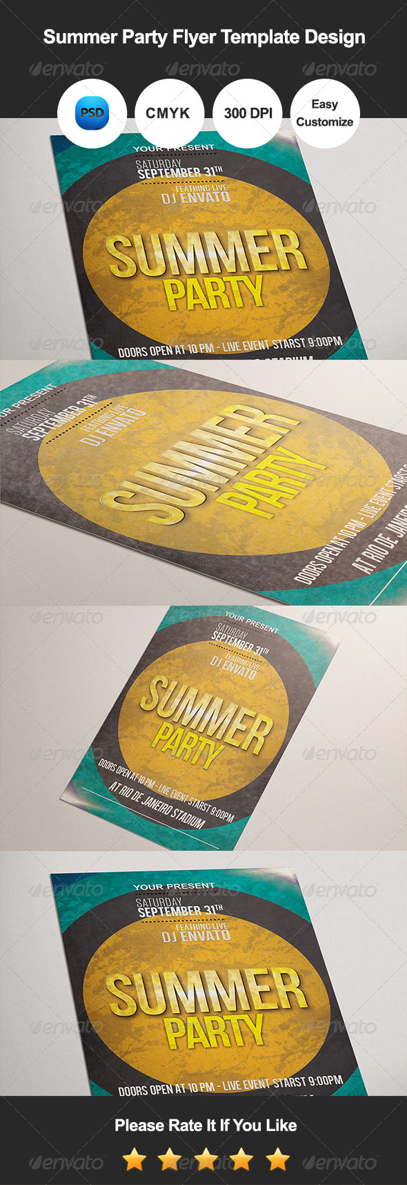 GraphicRiver Summer Party Flyer Template Design 8197347