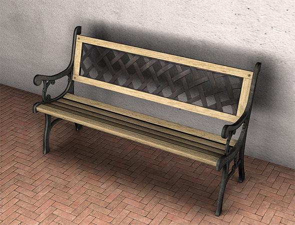 Garden Bench Low Poly