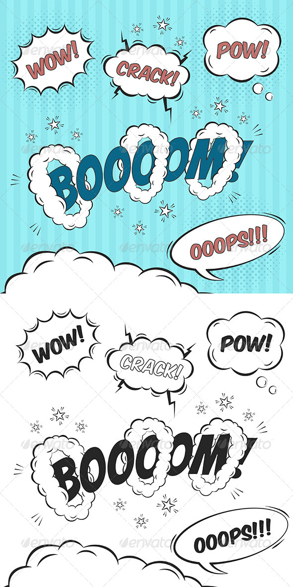 GraphicRiver Comic Speech Bubbles Design Elements 8219633
