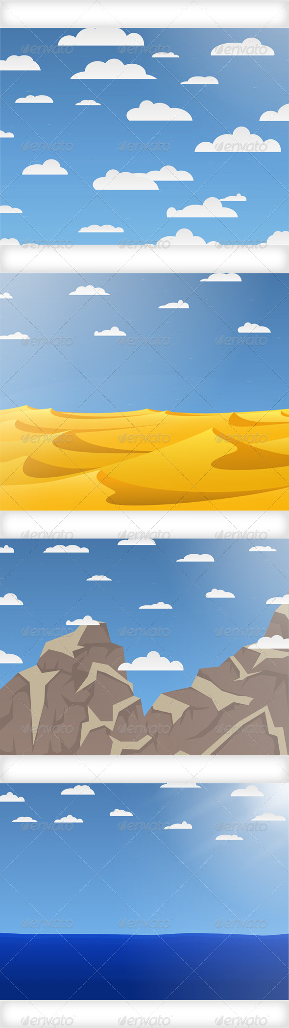 Set of Nature Vector Backgrounds