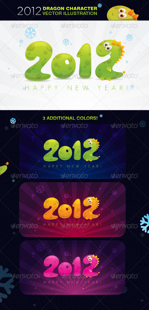 2012 Dragon Character Vector Illustration - Characters Vectors