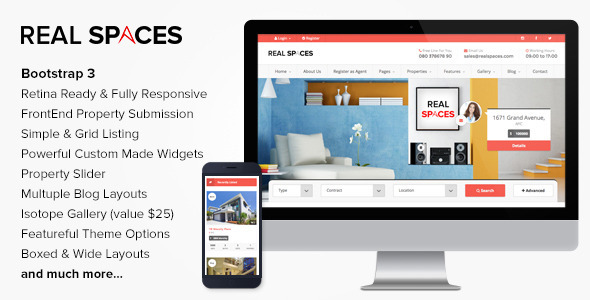 ThemeForest Real Spaces Wordpress Real Estate Theme 8219779
