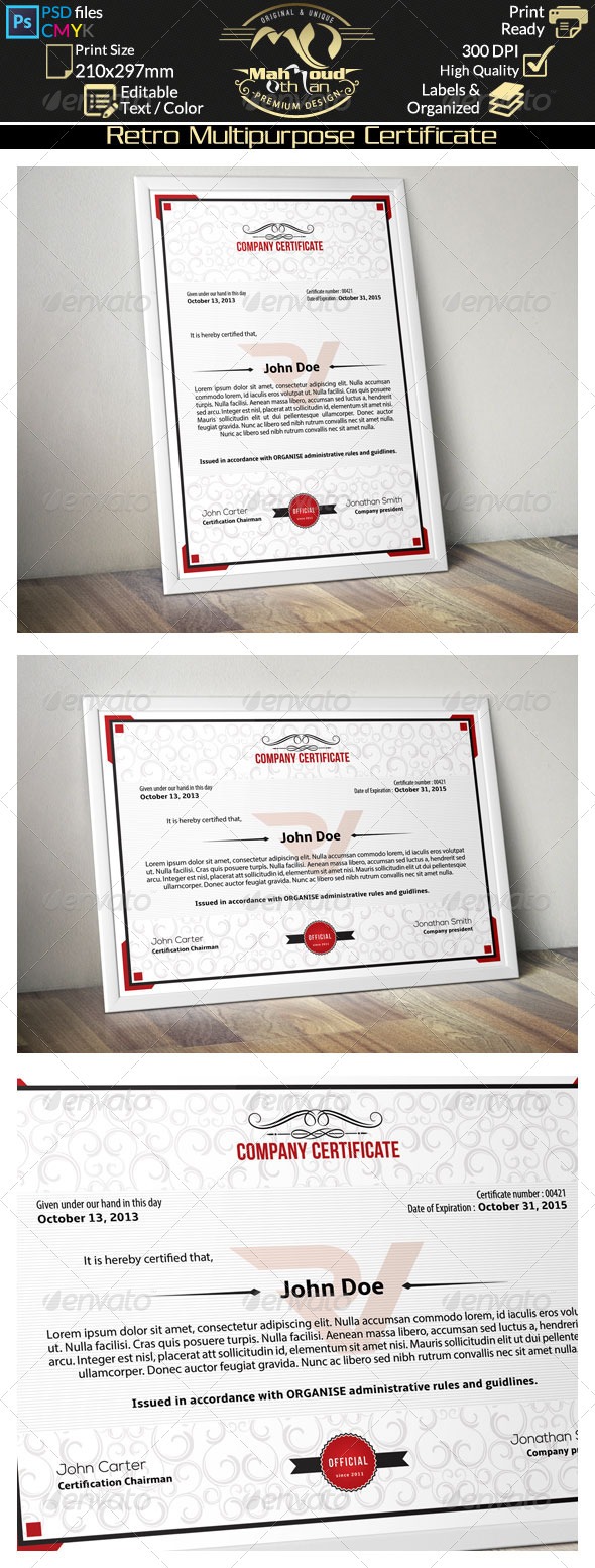GraphicRiver Simple Multipurpose Certificate 01 8207873