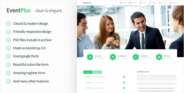 ThemeForest EventPlus Landing Page HTML5 Template 8220132