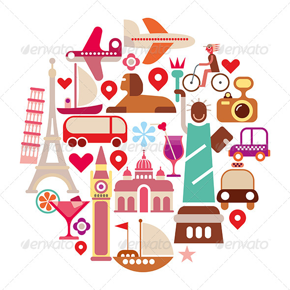 GraphicRiver Travel Icons Round Collage 8220439
