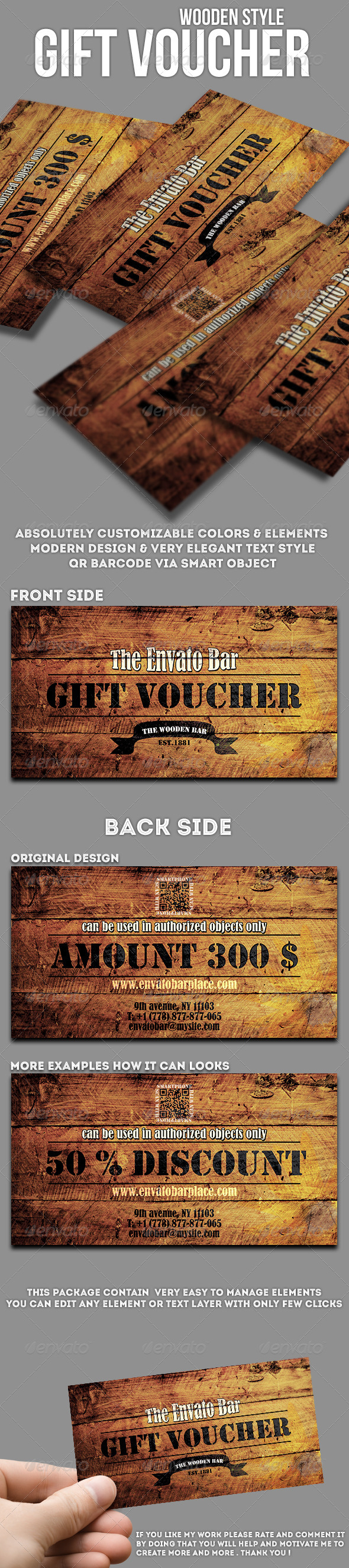 GraphicRiver Wooden style gift voucher 8220698