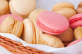 macaroons in a wicker basket - PhotoDune Item for Sale