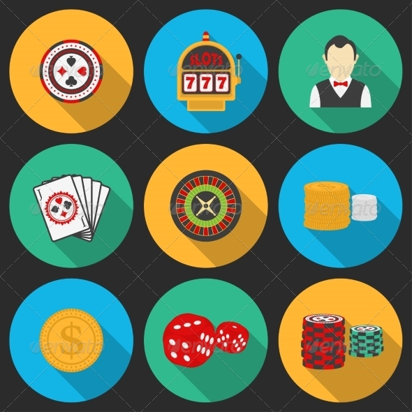 GraphicRiver Colorful Icon Set on a Casino Theme 8226004
