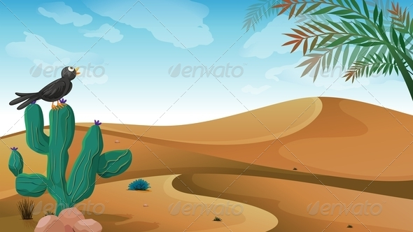 GraphicRiver A Bird above the Cactus Plant at the Desert 8226253
