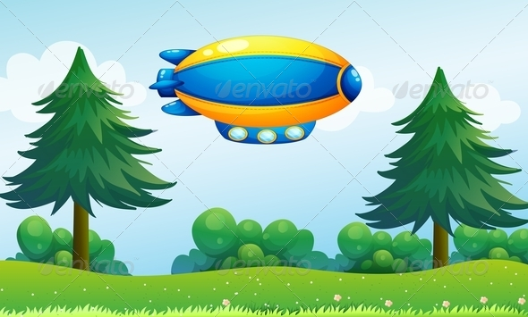 GraphicRiver An Airship near the Hilltop 8226257