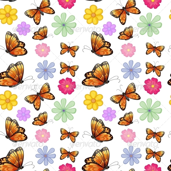 GraphicRiver Orange Butterflies with Colorful Flowers 8226330