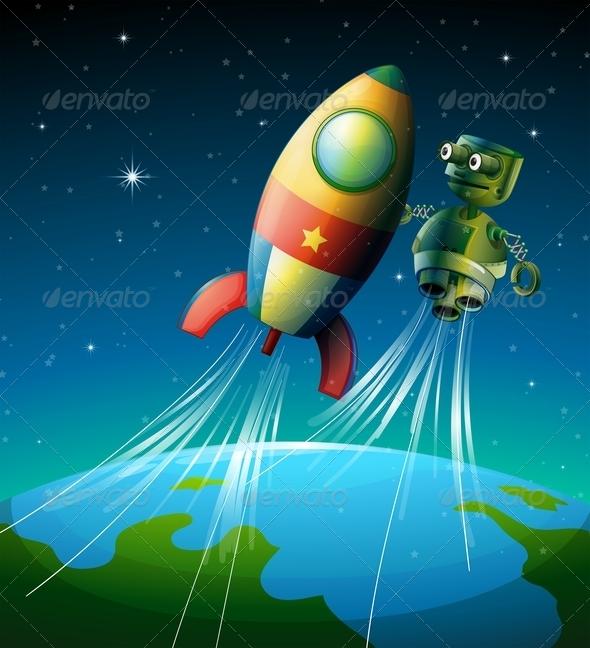 GraphicRiver Robot beside Spaceship 8226560