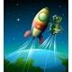Robot beside Spaceship