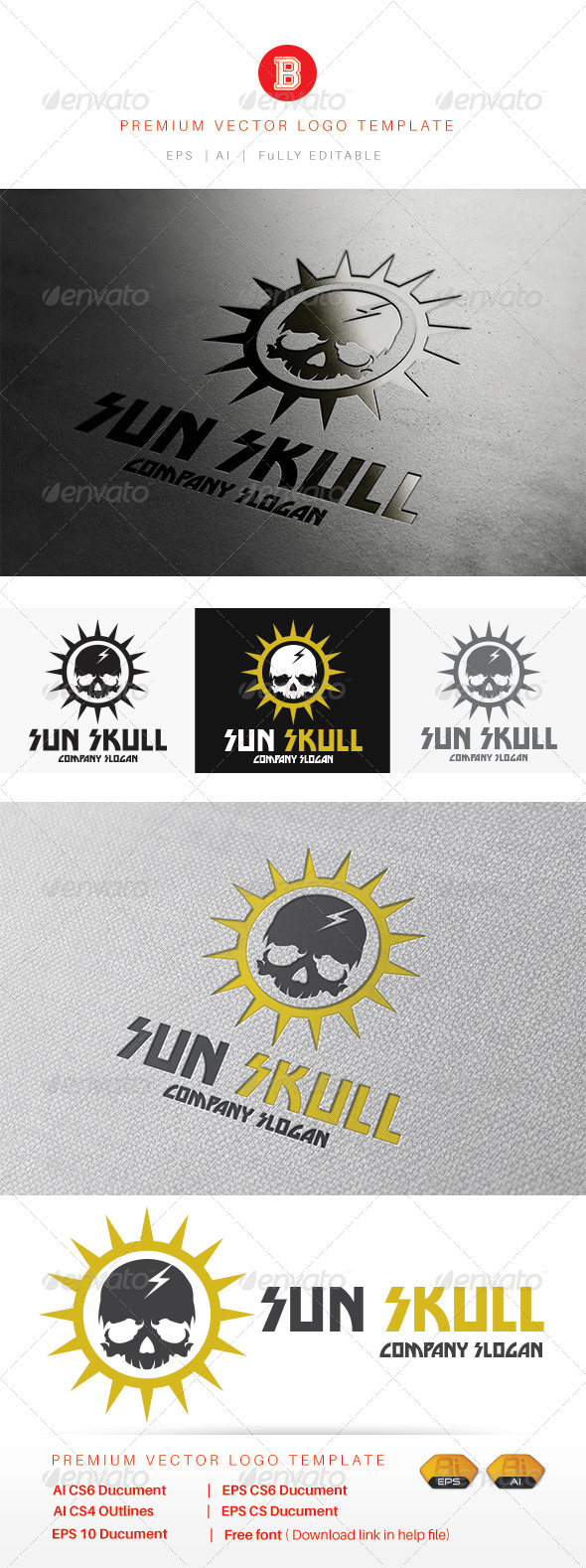 GraphicRiver Sun Skull 8226633