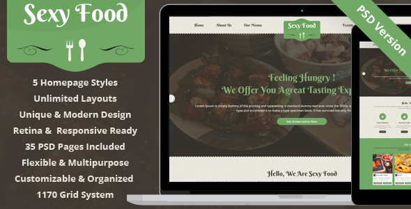 Sexy Food - Food & Restaurant PSD Template