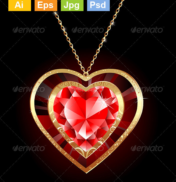GraphicRiver Ruby Heart on a Gold Chain 8226689