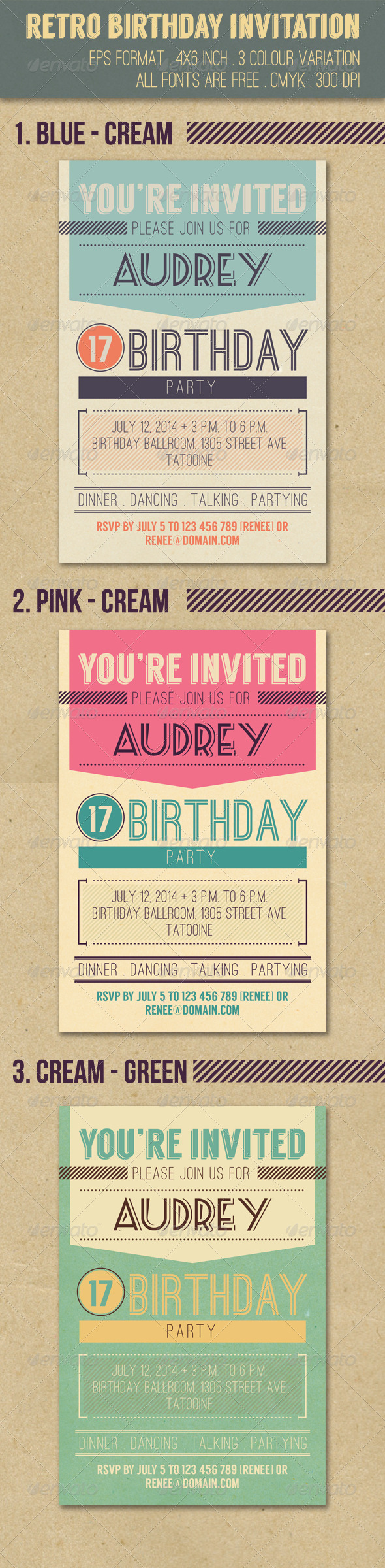 GraphicRiver Retro Birthday Invitation 8226705