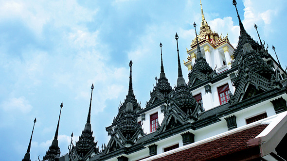 Buddhist Temple Metallic Castle in Bangkok
