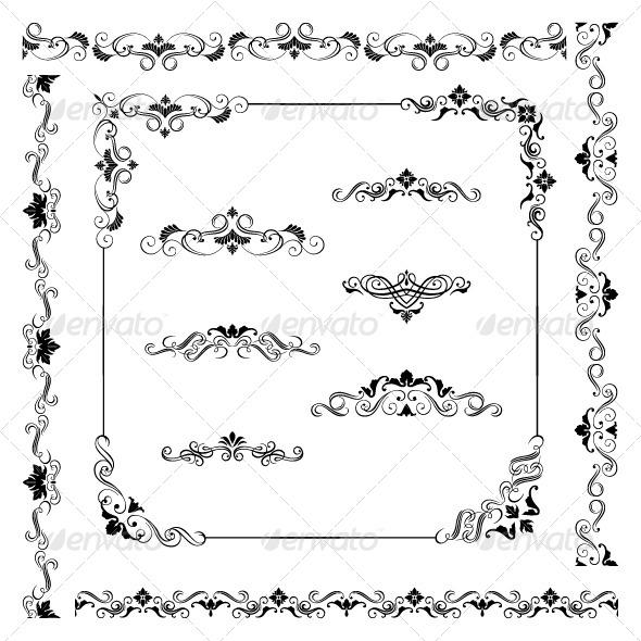 GraphicRiver Vintage Vector Frame Border Divider Corner 8227710