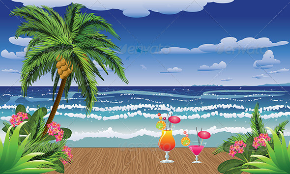 GraphicRiver Cocktails on Jetty 8228375