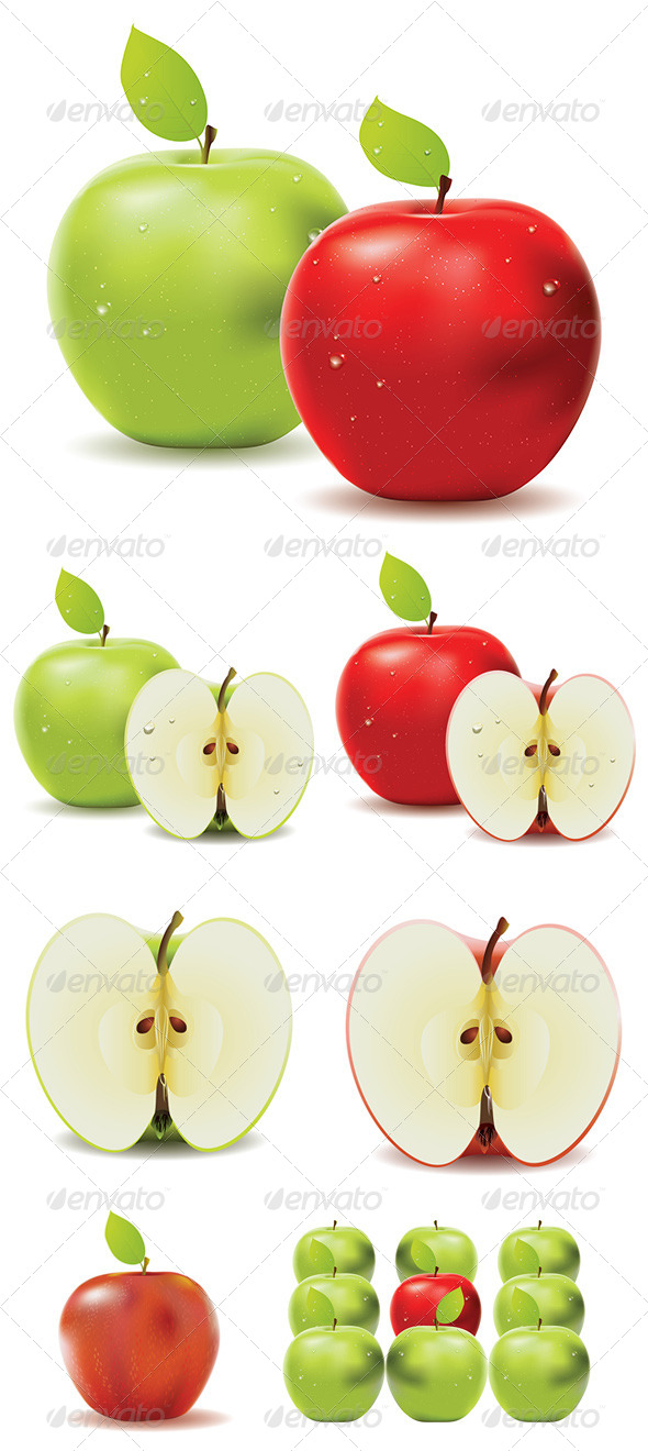 GraphicRiver Green Apple and Red Apple 8228381