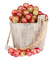 Ripe gooseberry in wooden bucket on white background - PhotoDune Item for Sale