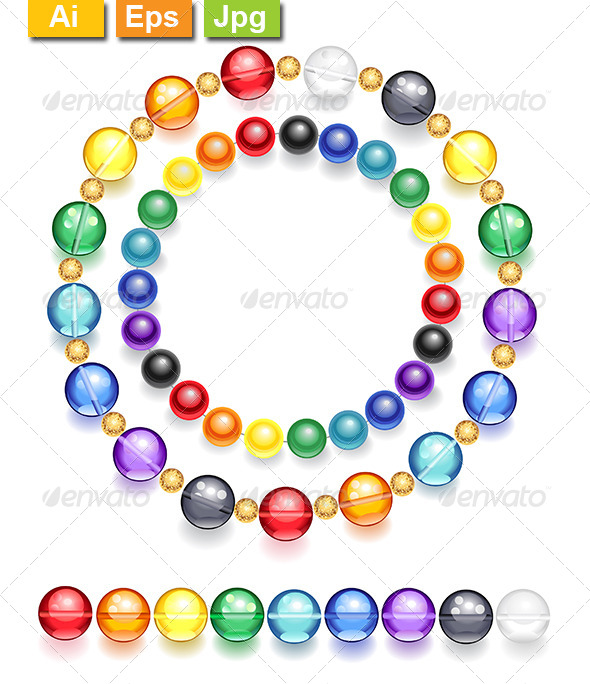 GraphicRiver Necklace of Multicolored Beads 8228455