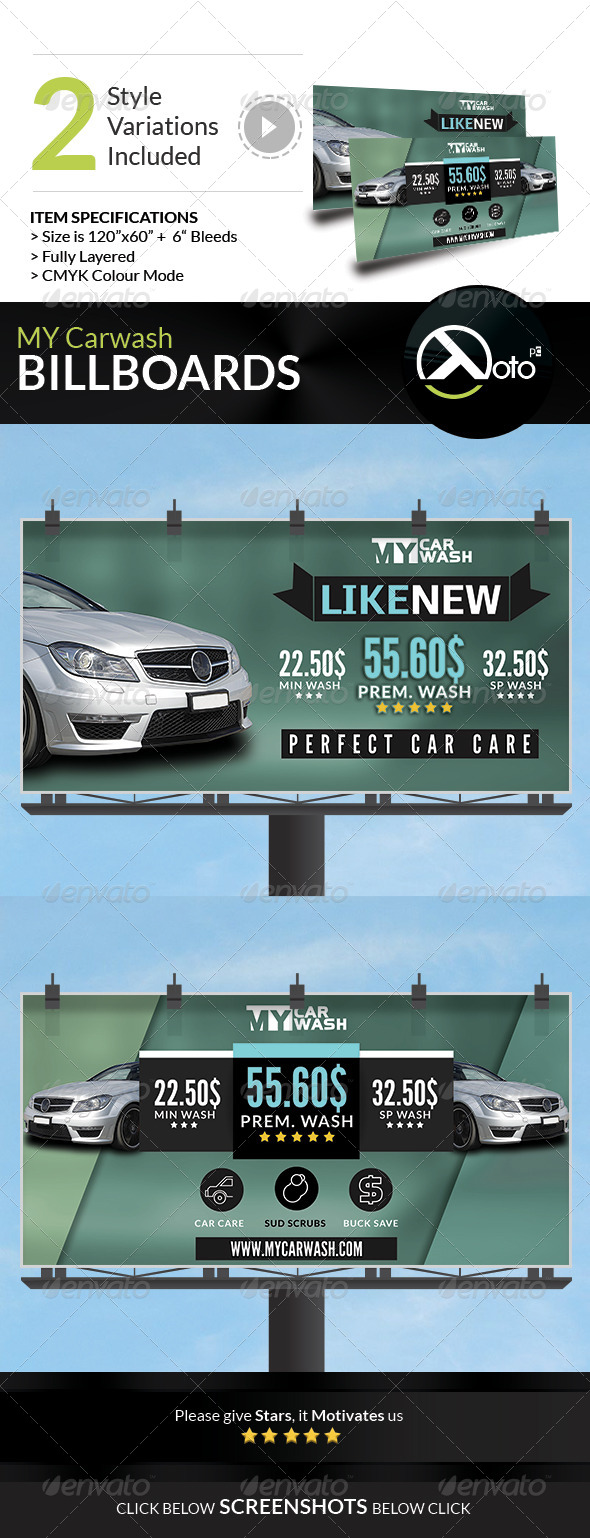 GraphicRiver MY Automobile Carwash Service Billboards 8228847