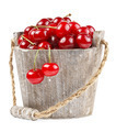 Fresh cherries in a wood bucket - PhotoDune Item for Sale