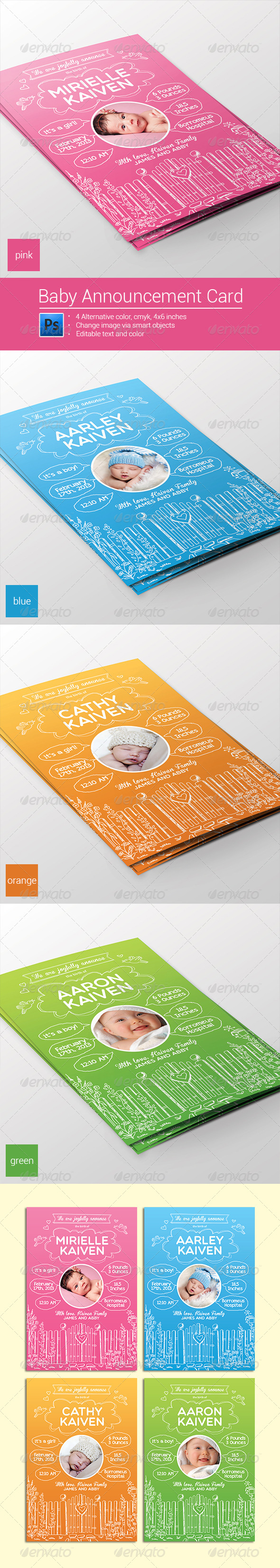 GraphicRiver Baby Announcement Card Boy & Girl 8228940