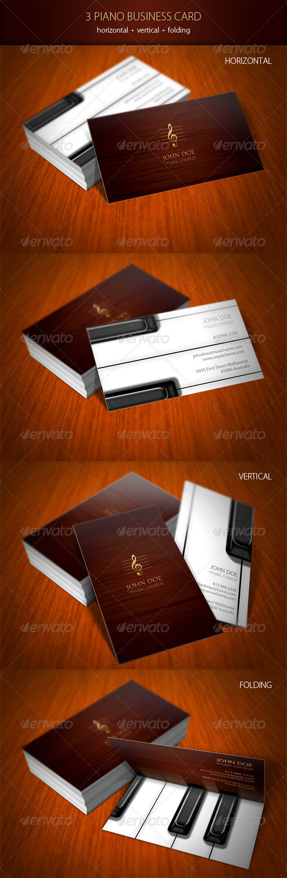 GraphicRiver 3 Piano Business Card 841643