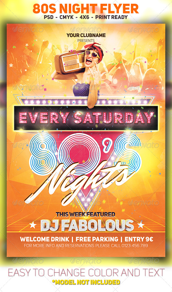 GraphicRiver 80s Night Flyer 8229677