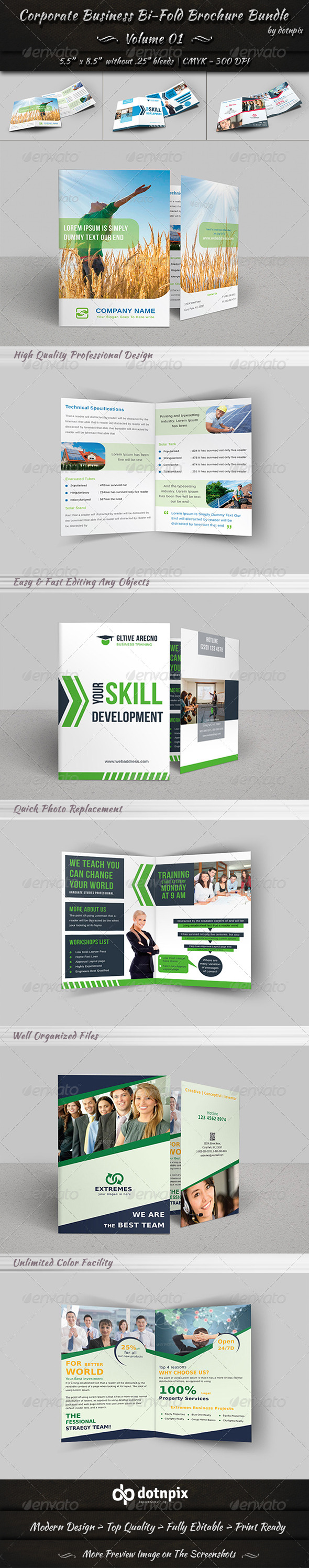 GraphicRiver Corporate Business Bi-Fold Brochure Bundle v1 8229702