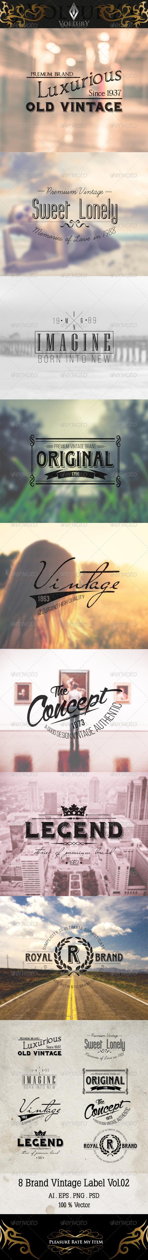 GraphicRiver 8 Brand Vintage Label Volume 2 8219579