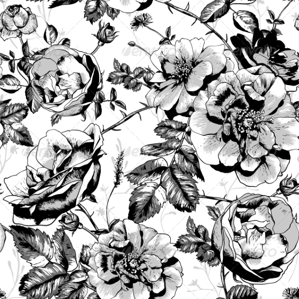 GraphicRiver Black and White Floral Seamless Background 8229773