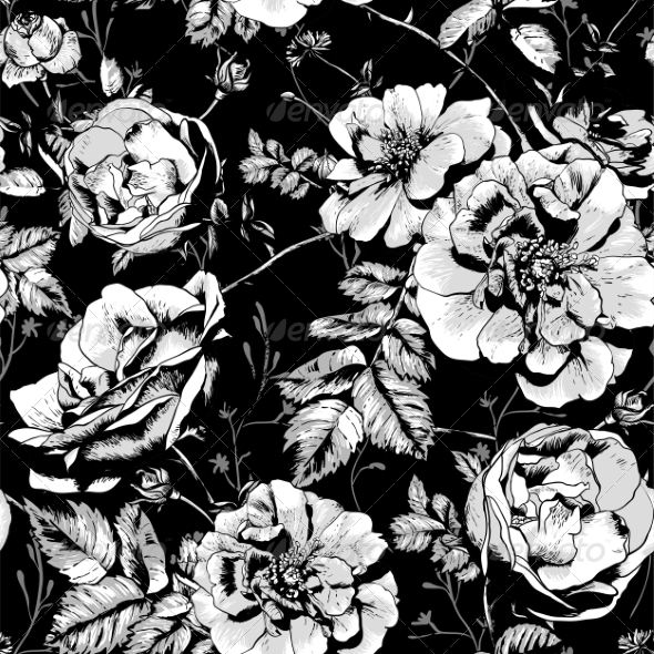 GraphicRiver Black and White Floral Seamless Background 8229775