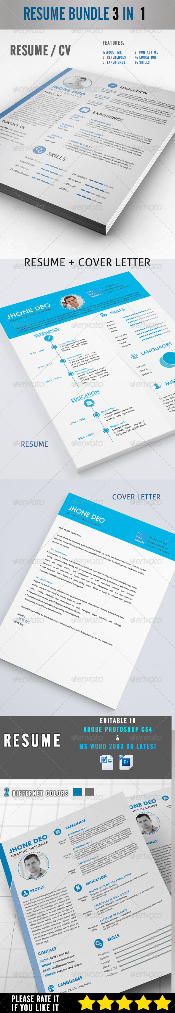 GraphicRiver Resume Bundle 3 in 1 8230161