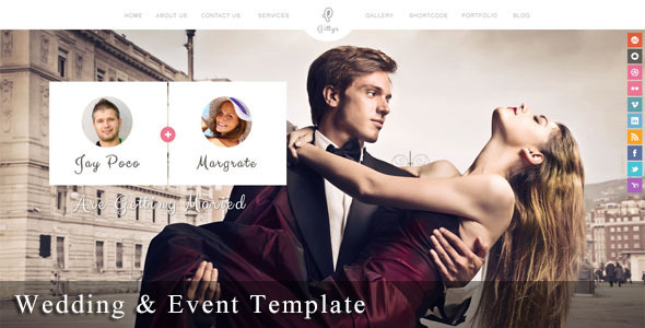 Gittys - Responsive Wedding & Event Template - Wedding Site Templates