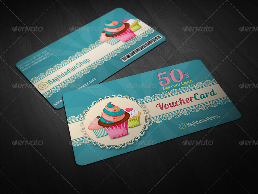 Cake Shop Voucher Gift Card Template by OWPictures – Voucher Card Template