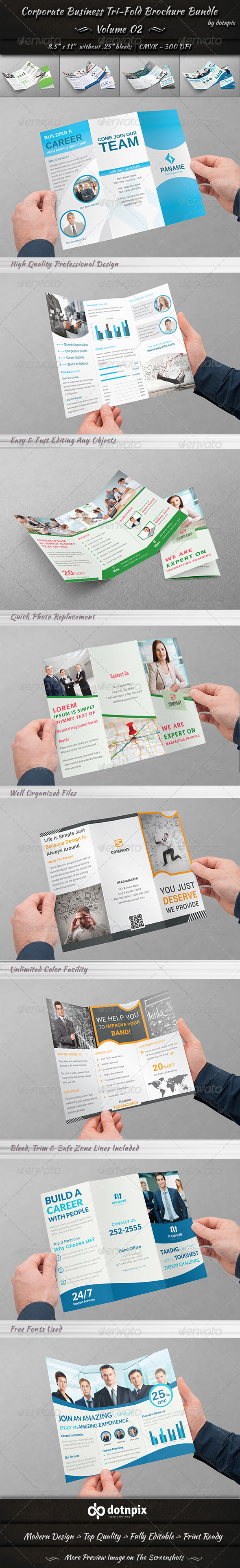 GraphicRiver Corporate Business Tri-Fold Brochure Bundle v2 8230324