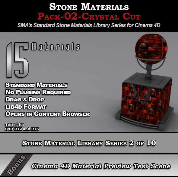Standard Stone Material Pack-02-Crystal_Cut [C4D] - 3DOcean Item for Sale