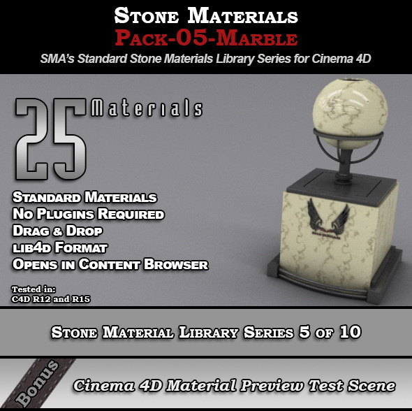 Standard Stone Material Pack-05-Marble for C4D - 3DOcean Item for Sale